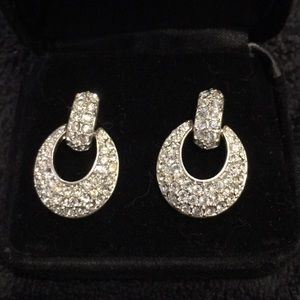 Silver and rhinestone pieced Earrings